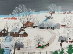 The Brown Mills by Anna Mary Robertson (Grandma Moses) Moses Christmas Rugs, Grandma Moses, La Dordogne, Naive Art, Landscape Paintings, Art Paintings, Figure Painting, American Artists, Architecture Art