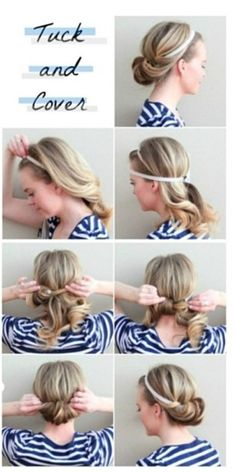 23 Five-Minute Hairstyles For Busy Mornings – 5 minute hairstyles Five Minute Hairstyles, Up Hairstyles, Pretty Hairstyles, Simple Hairstyles, Wedding Hairstyles, Headband Hairstyles, Waitress Hairstyles, Formal Hairstyles, Easy Beach Hairstyles
