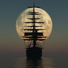 sail away .sail away.sail away Moon Pictures, Moon Photos, Images Photos, Nature Pictures, Pirate Life, Beautiful Moon, Beautiful Scenery, Beautiful Things, Tall Ships