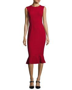 B3UZ5 Oscar de la Renta Sleeveless Flounce-Hem Sheath Dress, Dark Red