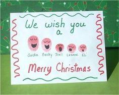Fingerabdruck-Weihnachtskarte selbst gebastelt