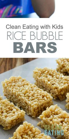 Clean Eating Rice Krispie Treats - 3 Ingredient No Bake Healthy Rice Krispy Treats- Just three ingredients and only takes 5 minutes to make. Healthy Baking, Healthy Snacks, Healthy Recipes, Protein Snacks, Healthy Breakfasts, Healthy Dinners, Healthy Kids, High Protein, Eating Healthy