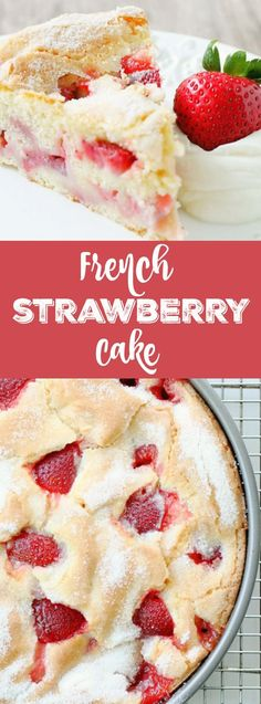 FRENCH STRAWBERRY CAKE Welcome! You are in for a treat with this French Strawberry Cake. Blended in one bowl with the season's freshest strawberries, this cake heats up with a custardy center and crackly, sugary top. Patisserie Paris, Bon Dessert, Appetizer Dessert, Strawberry Cakes, Strawberry Brownies, Strawberry Dessert Recipes, Recipes For Strawberries, Strawberry Ideas, Fruit Ideas