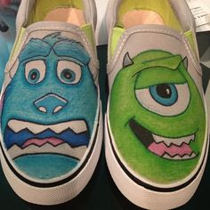 Monsters Inc. Baby Shower Party Favors, Baby Shower Parties, Custom Vans, Custom Shoes, Monster Inc Party, Painted Canvas Shoes, Gift Crafts, Disney Shoes, Monsters Inc