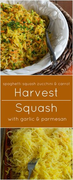 Harvest Squash is a colorful blend of spaghetti squash, zucchini and carrots with lots of garlic, parmesan and fresh herbs. It's also gluten free!
