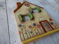 cute house was hand build out of slab of clay. While the clay was still wet I have cut out the windows and added the door and all the lit Clay Art Projects, Ceramics Projects, Clay Crafts, Diy And Crafts, Clay Houses, Ceramic Houses, Clay Fairy House, Pottery Houses, Pottery Handbuilding