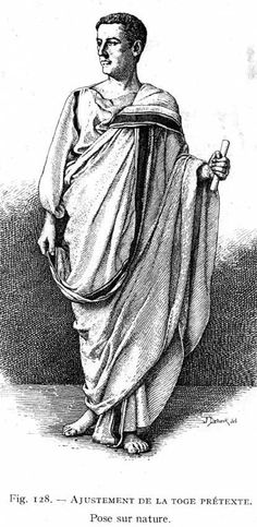 In this picture the man from Ancient Rome is wearing a Toga Praetexta.  Although this picture is not in color you could see the border in this picture.  He looks younger and his hair is cut short.  It is wrapped around his body with the border being shown off.  In this picture he is barefoot and not wearing any kind of jewelry.