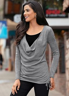 GREY & BLACK Drape neck sweater from VENUS