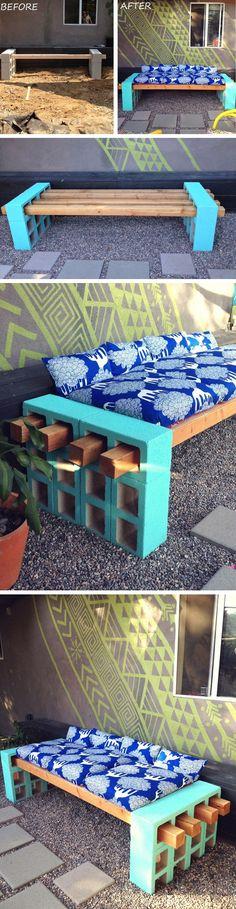 DIY concrete block bench seating   furniture design   awesome DIY inspiration