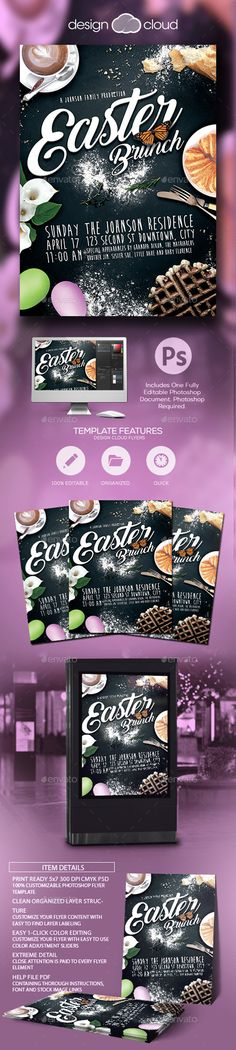 Easter Brunch Flyer Template by Design-Cloud Easter Brunch This fully editable flyer template is suitable for any Easter, spring, church, faith or family brunch related event.