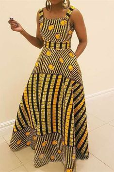 Yellow Fashion Sexy Spaghetti Strap Sleeveless Spaghetti Strap Sling Dress Floor Length Striped Print Dresses_DRESSES_KnowFashionStyle | Wholesale Shoes,Wholesale Clothing, Cheap Clothes,Cheap Shoes Online. - KnowFashionStyle.com African Traditional Dresses, Latest African Fashion Dresses, African Print Dresses, African Dresses For Women, African Print Fashion, African Attire, Modern African Dresses, Modern African Fashion, Dress Fashion