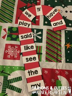 Crayons & Cuties In Kindergarten: Holiday Centers & Candy Cane Word Work! Could use with speech words or speech sound pictures Kindergarten Centers, Kindergarten Activities, Primary Activities, Preschool Learning, Reading Activities, Guided Reading, Christmas Activities, Christmas Themes, Winter Activities