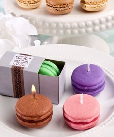 Trendy Macaroon Candles Decorate Bridal Shower Tea Party with Macaroon Cookies