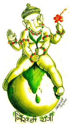 Ganesha Sketch, Ganesha Drawing, Ganesha Art, Shri Ganesh, Lord Ganesha, Color Pencil Art, Color Art, Dancing Ganesha, Ganesha Pictures