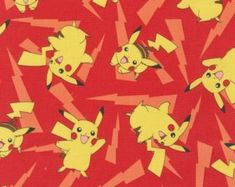 Pokemon Toss Red Light Bolts is licensed by Nintendo for Robert Kaufman. This fabric is cotton and is approx 44 inches cm) wide. Colours include red, yellow and brown yard = cm) This fabric is sold in yard increments […] Pokemon 100, Nintendo Pokemon, Play Pokemon, Pikachu Pikachu, Pokemon Fabric, Fabric Canada, Red Lightning, Fat Quarter Quilt, Nursery Fabric