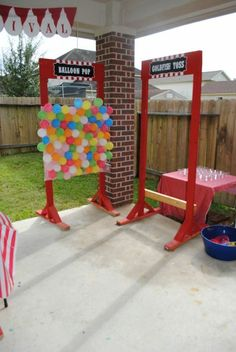 Balloon pop, goldfish toss, duck fishing ca Carnival Party Games, Carnival Booths, Circus Theme Party, Carnival Birthday Parties, Circus Birthday, Carnival Ideas, School Carnival Games, Birthday Ideas, Kids Carnival