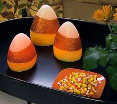 No calories in these light up candy corn - perfect table accent for a whimsical #fall touch. #ValerieParrHill