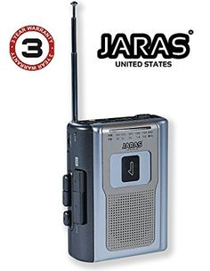 Jaras JJ-2016 Limited Edition Portable Personal Cassette Player/Recorder with AM/FM Radio & Built in Speakers  ► Tape Cassette Playback - Get lost all over again in your tape collection or shake things up with memory-inducing mixes  ► AM/FM Radio - A built-in FM/AM Stereo Tuner lets you choose from a wide variety of radio, talk and music programming  ► Portable Cassette Player/Recorder & Built-in Microphone & Mini Speaker on front side  ► Built-in Headphone Jack & Recorder jack Built i...