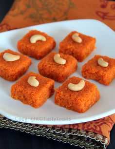 Tasty Treats: Gajar/ Carrot Burfi - wonder if it would work with milk & sugar substitutes