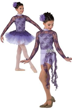 Style#  17221 BEAUTIFUL SOUL (2 IN 1)  Amethyst sequined lace and lilac spandex short unitard. Separate purple tulle over white chiffon tutu with attached matching top skirt. Lilac spandex belt with attached side skirt. Sequin applique trim. Headpiece included. SC-XXLA