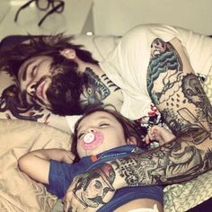 #tattooed #tattoos #dad #father #baby #inked #inkedmag #culture #style #art #family