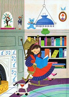 Girl in a library. (Perhaps a Mary Blair illustration.)
