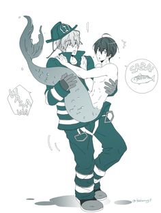 Drawn by koharugf ... Free! - Iwatobi Swim Club, haruka nanase, haru nanase, haru, nanase, haruka, free!, iwatobi, makoto, makoto tachibana, tachibana, merman, firefighter, fireman