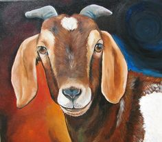 Contemporary Goat Canvas Print by Laura Carey. All canvas prints are professionally printed, assembled, and shipped within 3 - 4 business days and delivered ready-to-hang on your wall. Choose from multiple print sizes, border colors, and canvas materials. Goat Paintings, Cross Paintings, Animal Paintings, Colorful Paintings, Contemporary Paintings, Goat Art, Canvas Art, Canvas Prints, Cross Stitch Pictures