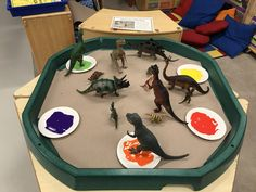 Dinosaur mark making in the tuff spot Colour Activities Eyfs, Activities For 1 Year Olds, Art Activities For Toddlers, Nursery Activities, Infant Activities, Dinosaur Theme Preschool, Preschool Colors, Dinosaur Activities, Tuff Spot