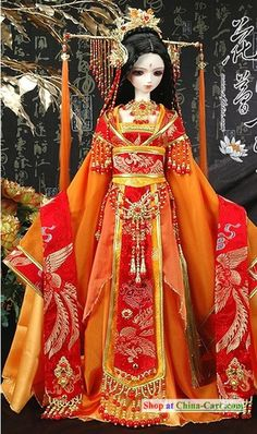 Ancient Chinese Princess Wedding Clothing and Hair Accessories Complete Set