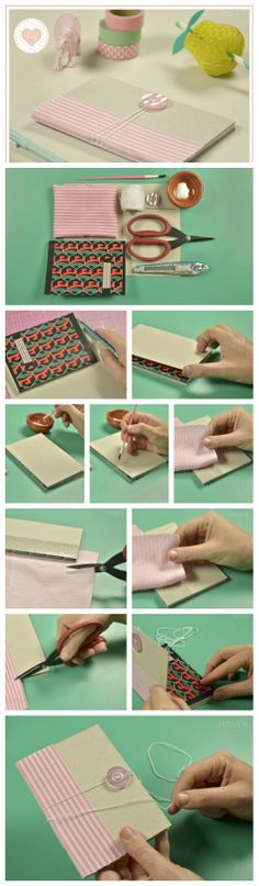 How to Make a Book with Buttons & Fabric