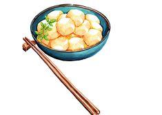 Satoimo (Boiled Sweet Yam Balls) - Watercolour illustration