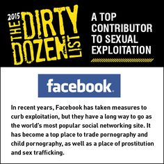 Facebook is a top contributor to sexual exploitation.   Share this graphic on social media!