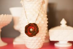 Upcycled Orange and Brown Flower Necklace with Jeweled Center