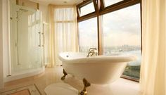 I would love this bathroom...I'm not wild about the colors, but I LOVE the view, and amenities.