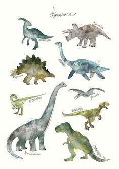 Illustration Enfant Dinosaurs as Premium Poster by Amy Hamilton Dinosaur Posters, Dinosaur Art, Dinosaur Drawing, Dinosaur Prints, Dinosaur Room Decor, Framed Art Prints, Canvas Prints, Large Prints, Wall Prints