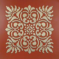 wall stencil - looks like tiles   large sicilia   royal design studio