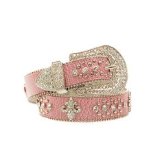 Women's Western Rhinestone Croco Leather Belt w/ Fleur De Lis Accent - Pink  $74.99 + free shipping  www.wantedwardrobe.com  #belts #fashion #western