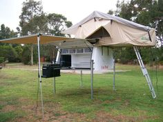 UtePod Ute Pod Slide on Camper with Roof top tent, awning and annexe.