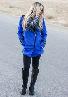OOTD: Royal Blue Jacket, Studded Boots, Houndstooth Infinity Scarf.