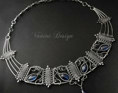 The Crown - Fine silver and kyanite necklace