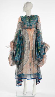 Knitted Circle | V Evening Dress Zandra Rhodes 1969 printed silk chiffon