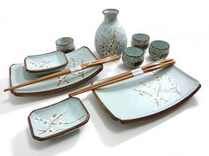 Pale Green Plum Sushi and Sake Set for Two