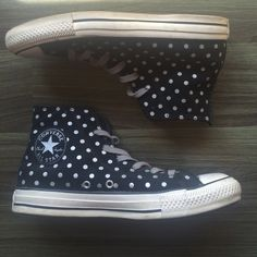 Converse high tops black with silver polka dots Converse high tops are black suede leather with silver polka dots. Gently used. Men's size 6 women's size 8 (US) Converse Shoes Sneakers
