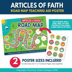 2017 LDS Primary Theme Articles of Faith - Fun teaching aid poster for Primary 2017! Add a new label to the poster as your primary learns a new Article of Faith! This would be great for our bulletin board!