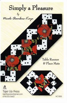 Simply a Pleasure - Quilted Table Runner Pattern - Tiger Lily Press - Place Mats Placemats Pattern - Table Topper Pattern Quilted Table Runners Christmas, Patchwork Table Runner, Table Runner And Placemats, Table Runner Pattern, Halloween Table Runners, Christmas Tables, Table Topper Patterns, Quilted Table Toppers, Quilting Projects