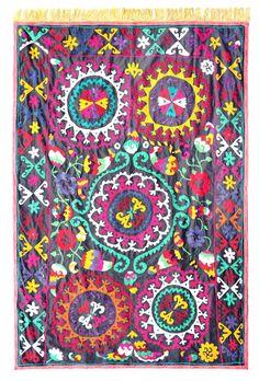 Handmade Vintage Suzani NL2522 by UzbekSuzanis on Etsy, $175.00