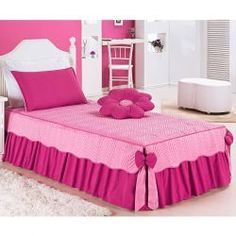 Colcha Solteiro Padrão Mariana 03 Peças Tecido Microfibra com Almofada - Pink Furniture Covers, Doll Furniture, Bathroom Crafts, Home Curtains, Bed Linen Design, Pink Themes, School Decorations, Space Theme, Cool Rooms