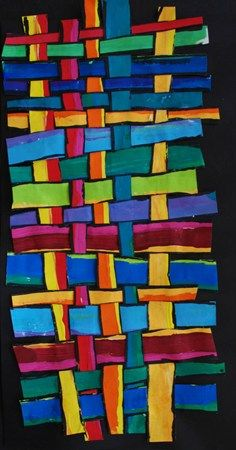 Painted paper weaving - warp, weft, kente cloth, cutting and gluing.