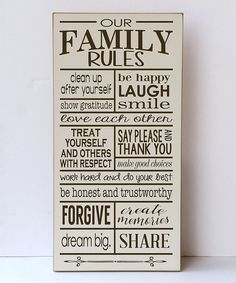 Cream & Brown 'Family Rules' Wall Sign